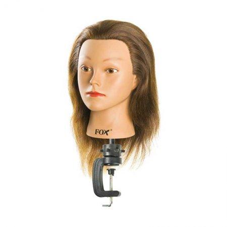 Fox, fryzjerska główka treningowa z mini statywem, 100% włosy naturalne, ciemny brąz, 35-40cm