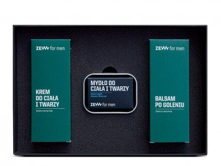 ZEW for Men, zestaw Wymagający Traper, mydło + mydelniczka + krem + balsam po goleniu