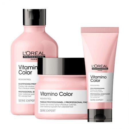 Loreal Vitamino Color, zestaw do włosów farbowanych, 300ml + 200ml + 250ml