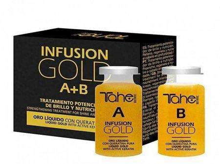 Tahe Botanic Gold Finishing, kuracja do włosów zniszczonych, system A+B, 2 x 10ml
