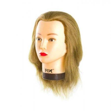Fox, fryzjerska główka treningowa, 100% włosy naturalne, ciemny blond, 35cm