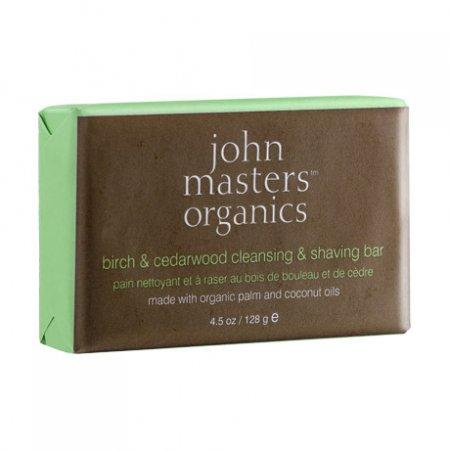 John Masters Organics, mydło brzozowo-cedrowe do mycia i golenia, 128g