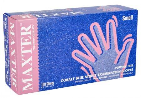 Maxter, rękawiczki nitrylowe, niebieskie, rozmiar S, 100 sztuk