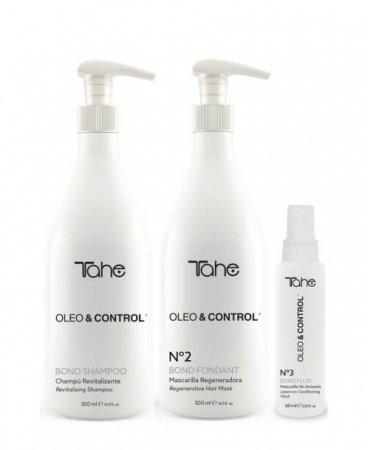 Tahe Oleo&Control, zestaw rewitalizujący, szampon + maska + fluid, 2 x 500ml + 60ml
