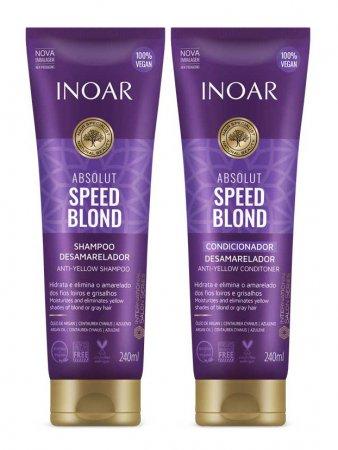 INOAR Speed Blond DUO PACK, szampon + odżywka do włosów blond, 2x240ml