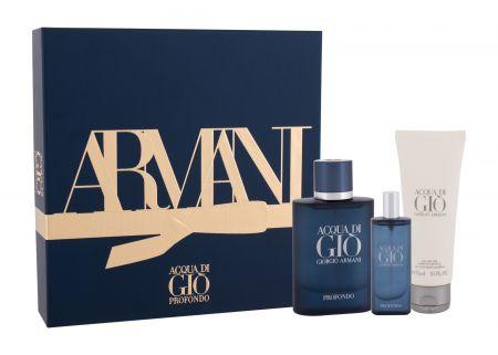 Giorgio Armani Acqua di Gio Profondo, zestaw: Edp 75 ml + Edp 15 ml + Żel pod prysznic 75 ml (M)