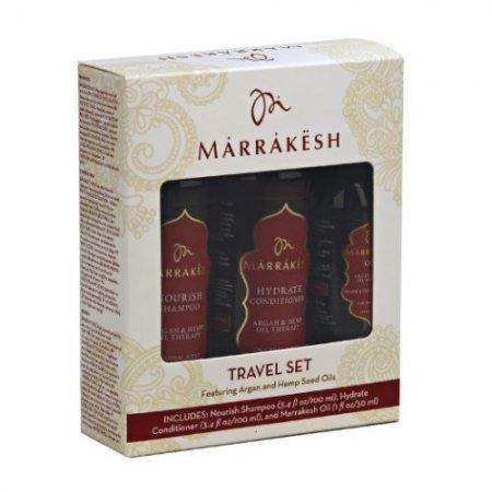 Marrakesh, zestaw Travel Set, szampon 100ml, odżywka 100ml, olejek 30ml