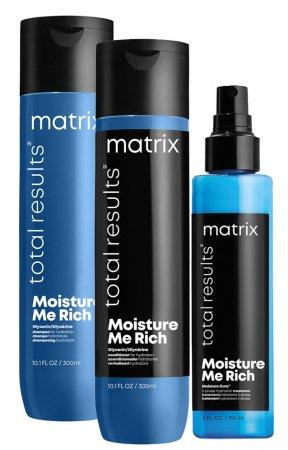Matrix Moisture Me Rich, nawilżający zestaw do włosów, 300ml + 300ml + 150ml