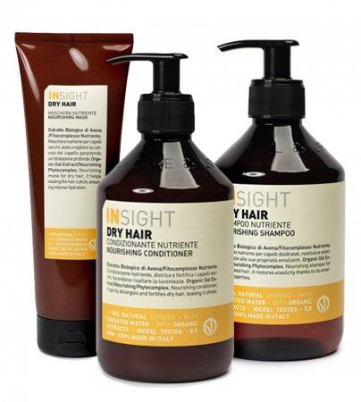 InSight Dry Hair, zestaw kosmetyków nawilżających, 400ml + 400ml + 250ml