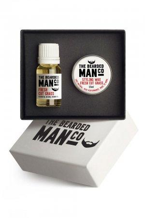 Bearded Man, zestaw: olejek do brody 10ml + wosk do wąsów 15g, Fresh cut Grass