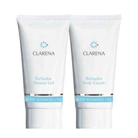 Clarena Advanced Body Line Barbados, mini zestaw wyszczuplajacy, Body Cream 30ml + Shower Gel 30ml