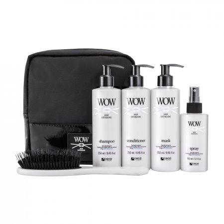 CeCe WOW Hair Extensions, zestaw do włosów przedłużanych, 3x250ml+1x150ml+szczotka