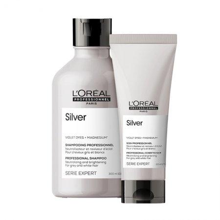 Loreal Silver, zestaw do włosów rozjaśnianych i siwych, 300ml + 200ml