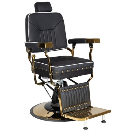 Fotel barberski Gabbiano Filippo Gold, czarny
