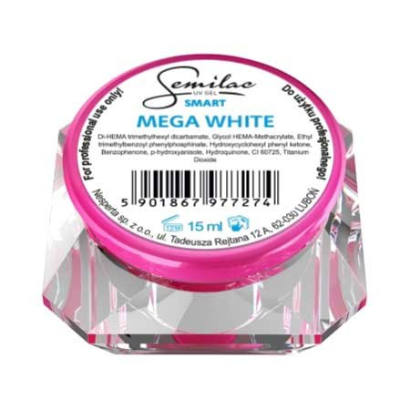 Semilac UV Gel Smart, żel do paznokci, Mega White, 15ml