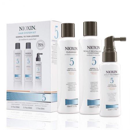 Nioxin System 5, zestaw przeciw wypadaniu, włosy lekko przerzedzone, po zabiegach, grube