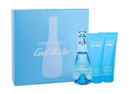 Davidoff Cool Water, zestaw: Edt 100ml + 75ml Balsam + 75ml Żel pod prysznic (W)