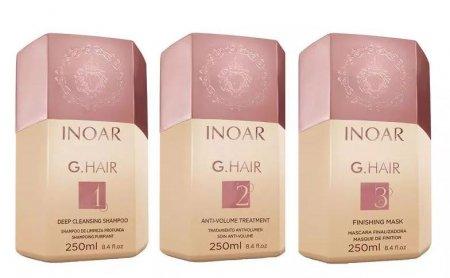 INOAR G-Hair, zestaw do keratynowego prostowania, 3x250ml