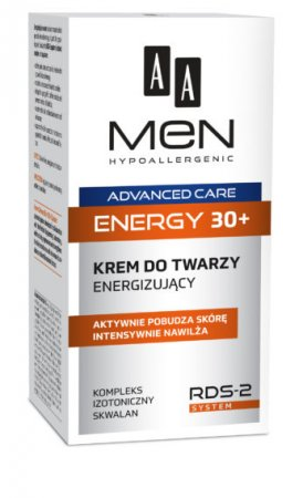 AA MEN Advanced Care Energy 30+, Krem do twarzy energizujący, 50ml