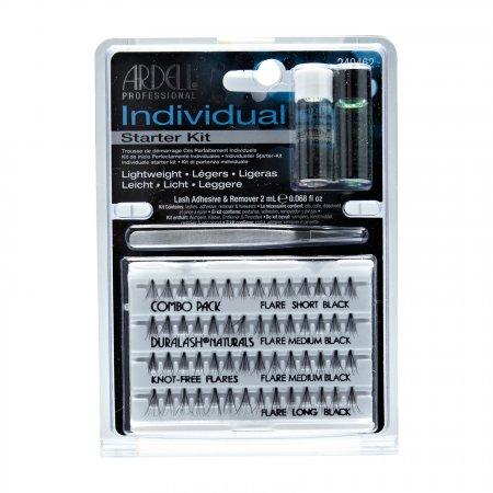 Ardell Individual, zestaw startowy, klej+rozpuszczalnik+pęseta+rzęsy
