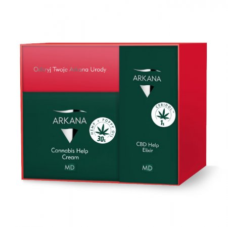 Arkana Cannabis Therapy, luksusowy zestaw CBD, krem 50ml + elixir 15ml