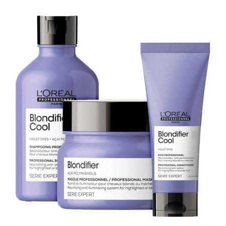 Loreal Blondifier Cool, zestaw do włosów blond, 300ml + 200ml + 250ml