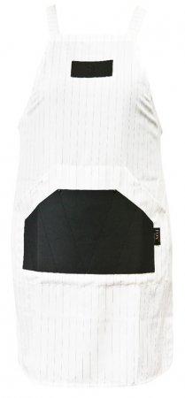 Fox Barber Expert, fartuch no. 3, biały w cienkie czarne pasy