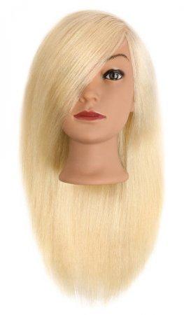 Efalock, główka treningowa Ella, włosy ludzkie jasny blond, 50cm