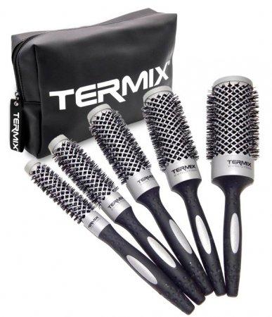 Termix Evo Basic, zestaw 5 szczotek do włosów + kosmetyczka