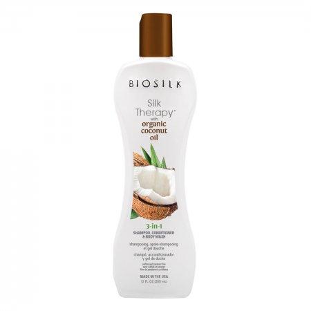 Biosilk Organic Coconut 3w1, szampon, odżywka i płyn do mycia ciała, 355ml