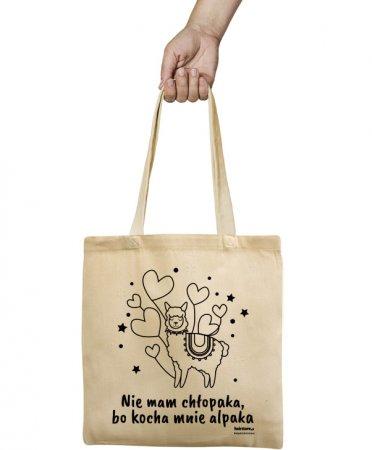 Ekologiczna torba z alpaką, Nie mam chłopaka, bo kocha mnie alpaka