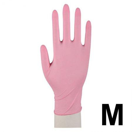 Abena, rękawiczki nitrylowe bezpudrowe, rozmiar M, różowe, 100 sztuk