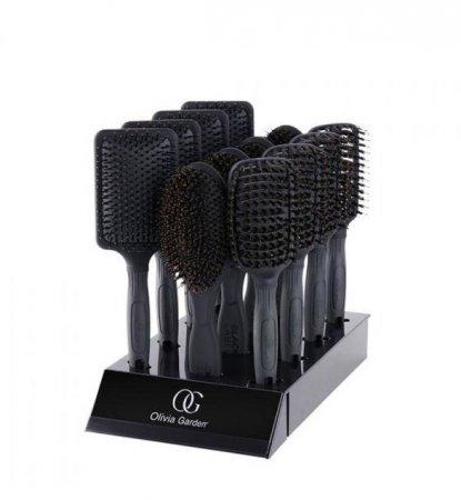 Olivia Garden Black Label, zestaw szczotek, display, 12 szt