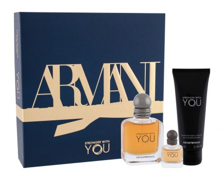 Giorgio Armani Emporio Armani Stronger With You, zestaw: EDT 50 ml + EDT 7 ml + Żel pod prysznic 75 ml (M)