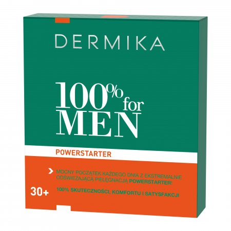 Dermika 100% for MEN Powerstarter 30+, zestaw prezentowy, hydro-krem 100ml + multikosmetyk 3w1 20ml