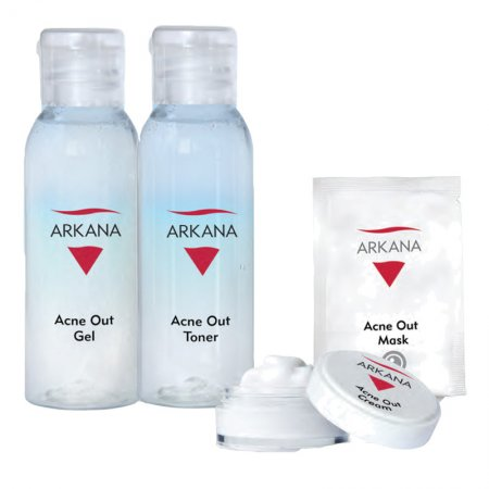 Arkana Acne Out, podróżny zestaw mini kosmetyków do cery tłustej