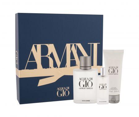 Giorgio Armani Acqua di Gio Pour Homme, zestaw: Edt 100 ml + Edt 15 ml + Żel pod prysznic 75 ml (M)