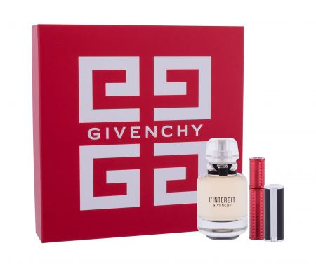 Givenchy L´Interdit, zestaw: EDP 50 ml + Pomadka Le Rouge 1,5 g 333 L´Interdit + Tusz do rzęs Volume Disturbia 4 g 01 Black Disturbia (W)