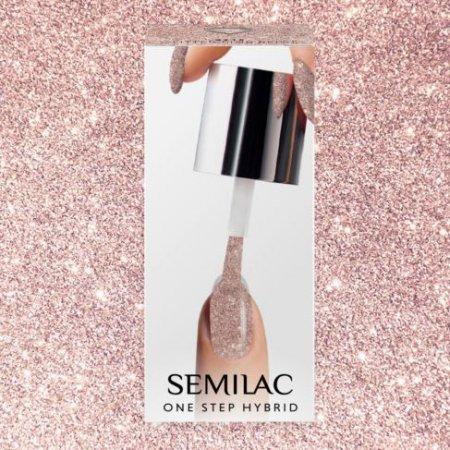 Semilac One Step Hybrid, lakier hybrydowy, 5ml, S245 Glitter Pink Beige