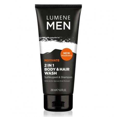 Lumene Men Motivate, żel 2w1 do mycia ciała i włosów, 200ml
