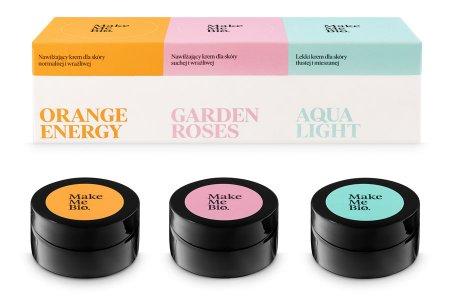 Make Me Bio, kremy do twarzy Orange Energy, Garden Roses, Aqua Light (3x20ml)