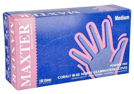 Maxter, rękawiczki nitrylowe, niebieskie, rozmiar M, 100 sztuk