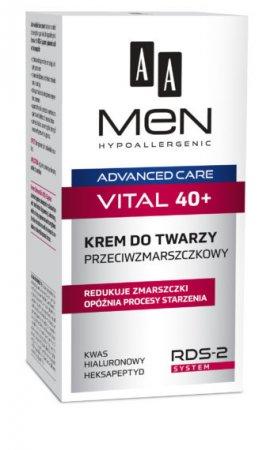 AA MEN Advanced Care Vital 40+, krem do twarzy przeciwzmarszczkowy, 50ml