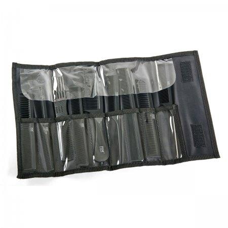 Fox Line Black, zestaw grzebieni w etui, 9 szt.
