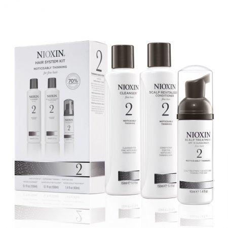 Nioxin System 2, zestaw przeciw wypadaniu, włosy widocznie przerzedzone, cienkie, naturalne