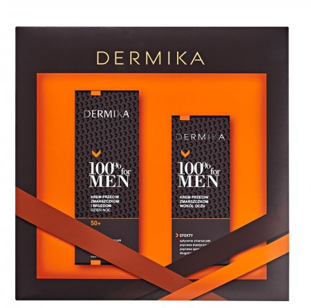 Dermika, zestaw prezentowy 100% for Men, krem wygładzający 50+ 50ml + krem pod oczy 15ml