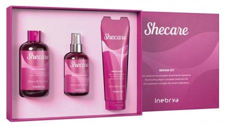 Inebrya Shecare Repair, rozświetlający zestaw naprawczy: szampon + maska + spray, 300ml + 250ml + 200ml