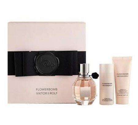 Viktor & Rolf Flowerbomb, zestaw perfum edp 50ml + 50ml żel pd prysznic + 40ml krem do ciała (W)