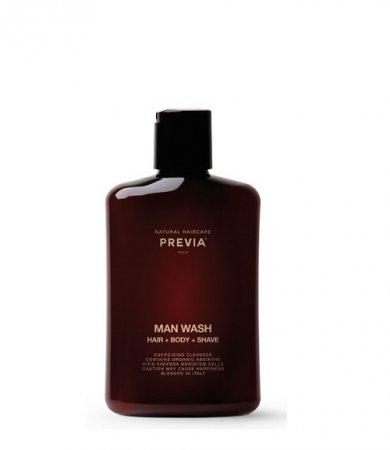 Previa Man Wash, żel do mycia włosów, ciała i do golenia, 250ml