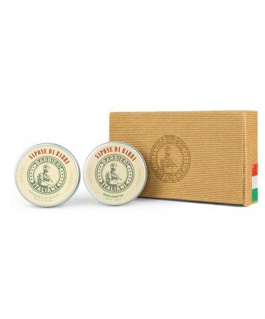 Barbieri Italiani, zestaw 2 mydeł do golenia (bergamotka + migdały sycylisjkie), 2x100g